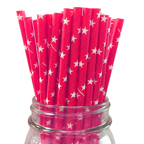 Hot Pink with White Stars 25pc Paper Straws