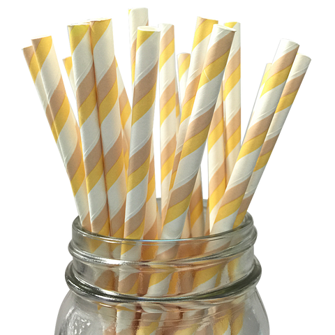 Ivory and Taupe Striped 25pc Paper Straws