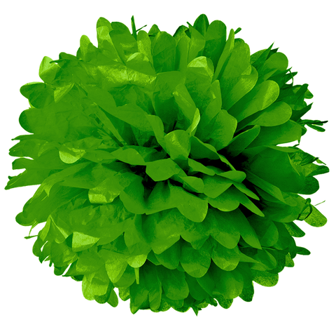 "10"" Kelly Green Tissue Pom Poms."