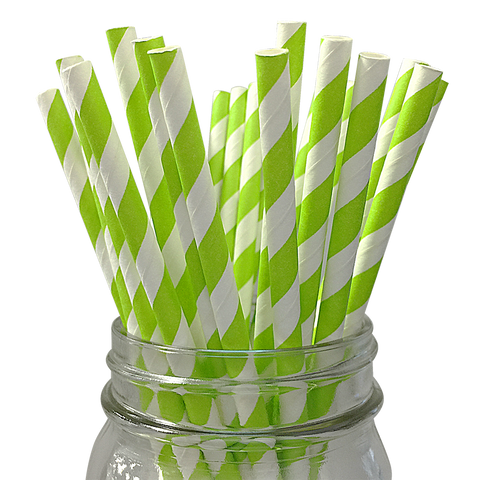 Kiwi Green Striped 25pc Paper Straws