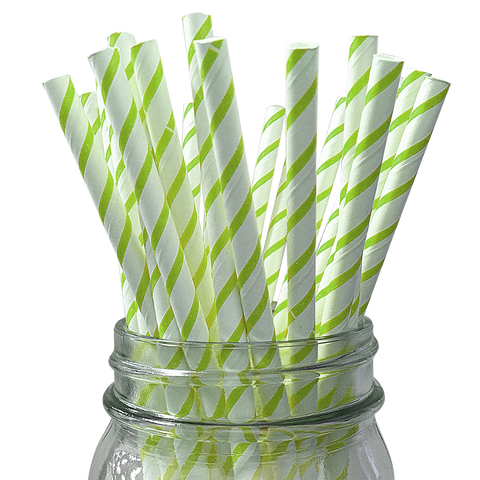 Lime Skinny Striped 25pc Paper Straws