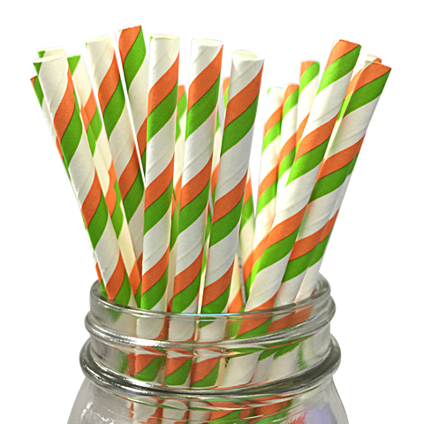 Green and Orange Striped 25pc Paper Straws