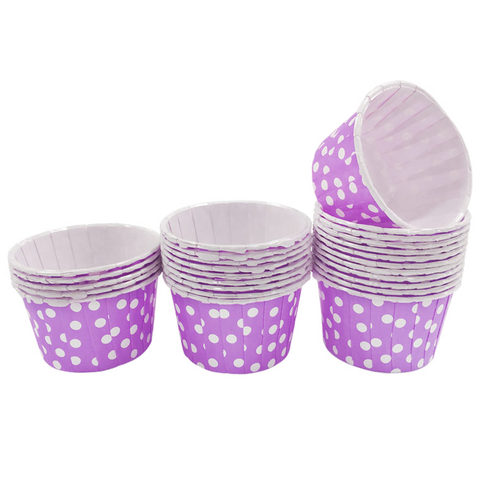 Lavender with White Polka Dot 10pc Mini Paper Cups.