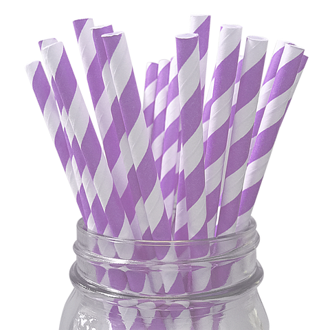Lavender Striped 25pc Paper Straws