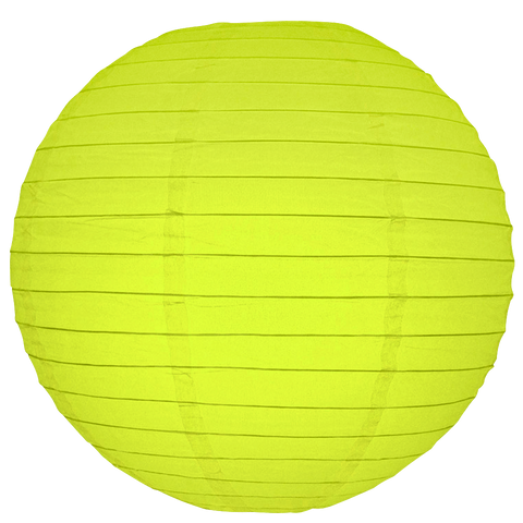 Lemon Yellow Ribbed Paper Lanterns
