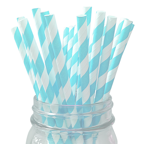 Light Blue Striped 25pc Paper Straws.