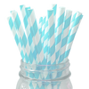 Light Blue Striped 25pc Paper Straws