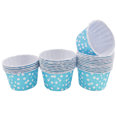 Light Blue with White Polka Dot Mini Cupcake Paper Cups