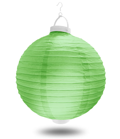 "12"" Light Green Battery Operated LED Paper Lanterns."