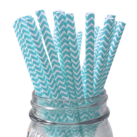 Light Blue Chevron Striped 25pc Paper Straws.