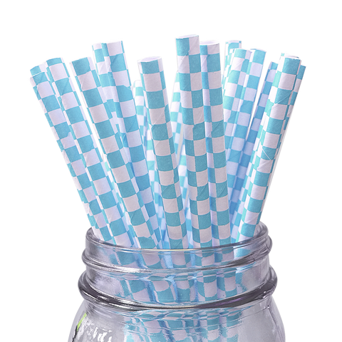 Light Blue Checkered 25pc Paper Straws.