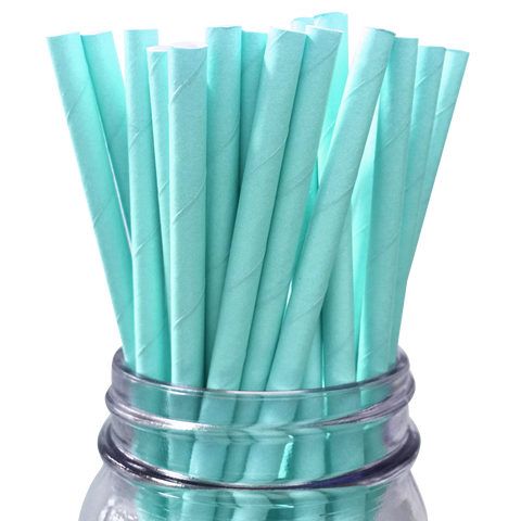 Light Blue Solid 25pc Paper Straws