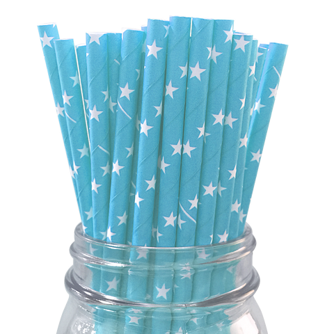 Light Blue with White Stars 25pc Paper Straws