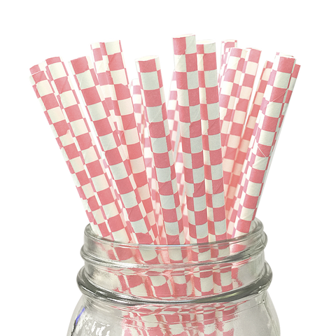 Light Pink Checkered 25pc Paper Straws.