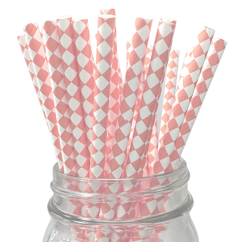 Light Pink Harlequin Diamond 25pc Paper Straws