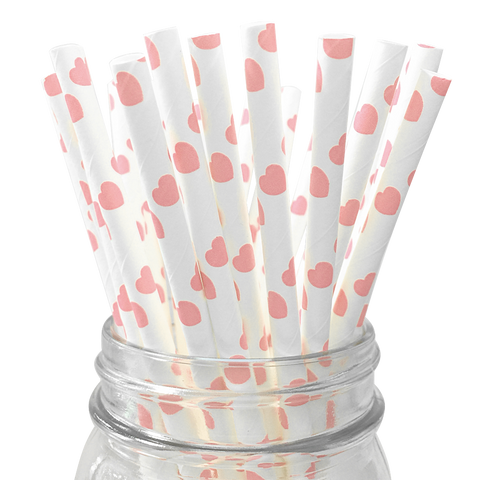 Light Pink Hearts 25pc Paper Straws
