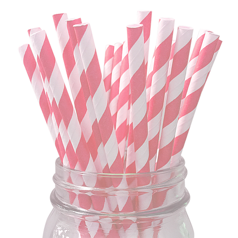Light Pink Striped 25pc Paper Straws