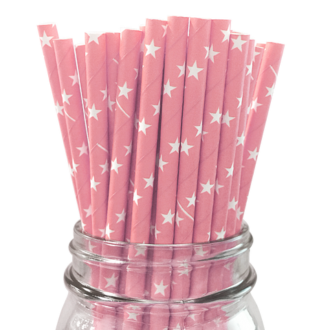 Light Pink with White Stars 25pc Paper Straws.