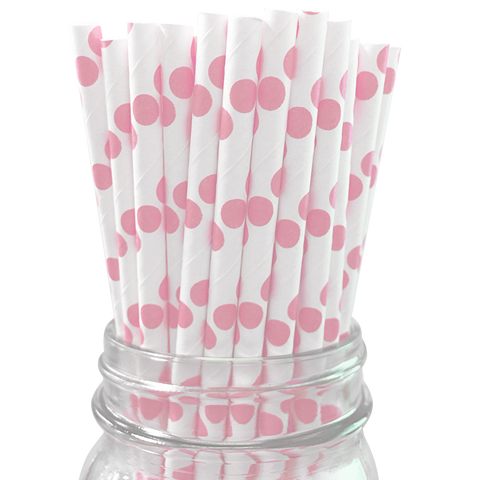 Light Pink Polka Dot 25pc Paper Straws