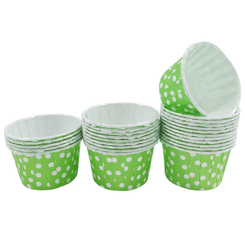 Lime with White Polka Dot Mini Cupcake Paper Cups