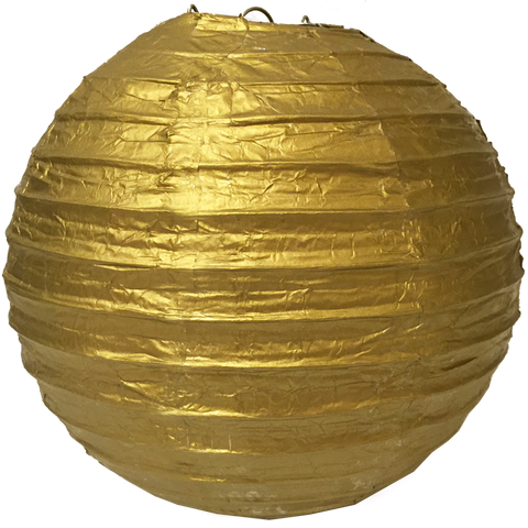 Metallic Gold Ribbed Paper Lanterns