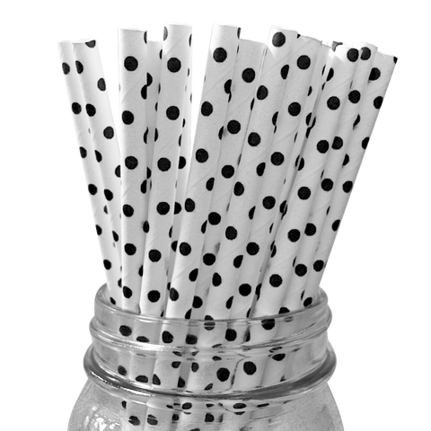 Mini Black Polka Dot 25pc Paper Straws