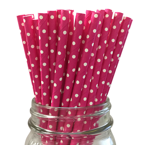 Mini Hot Pink with White Polka Dot 25pc Paper Straws