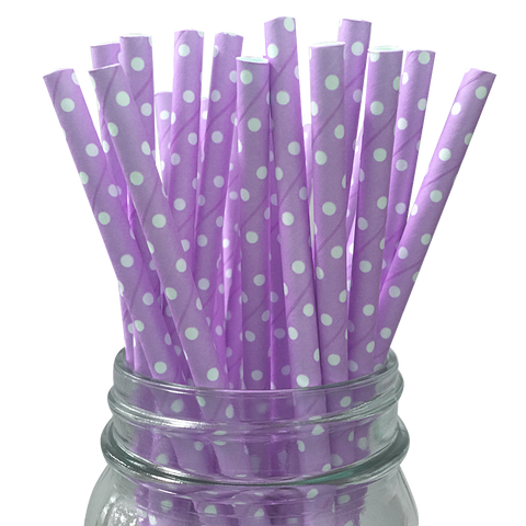 Mini Lavender with White Polka Dot 25pc Paper Straws