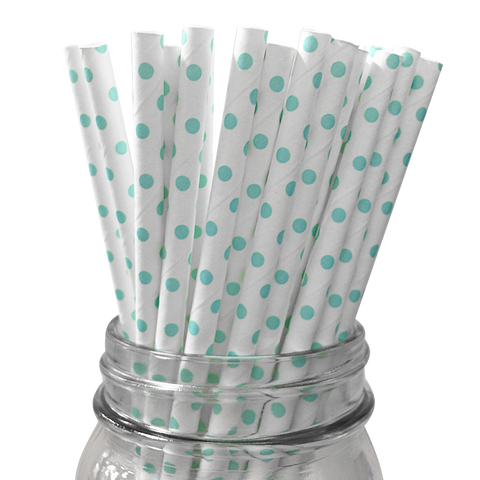 Mini Light Blue Polka Dot 25pc Paper Straws