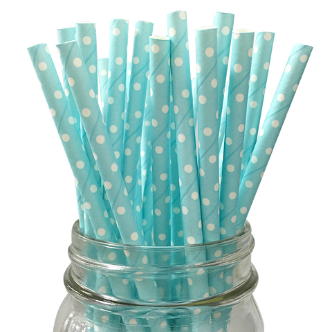 Mini Light Blue with White Polka Dot 25pc Paper Straws.