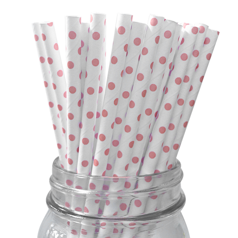 Mini Light Pink Polka Dot 25pc Paper Straws