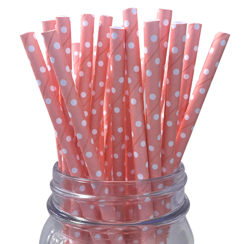 Mini Light Pink with White Polka Dot 25pc Paper Straws