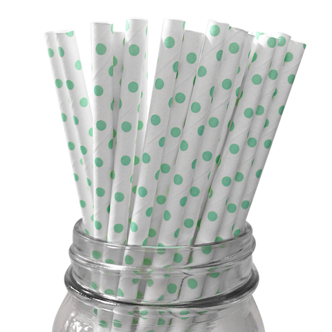 Mini Mint Polka Dot 25pc Paper Straws