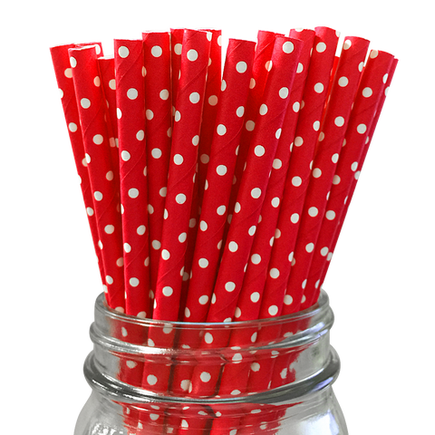 Mini Red with White Polka Dot 25pc Paper Straws.