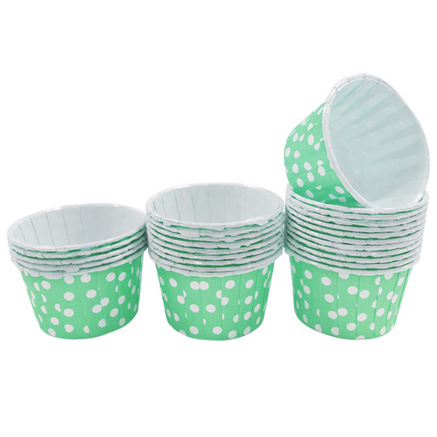 Mint with White Polka Dot Mini Cupcake Paper Cups