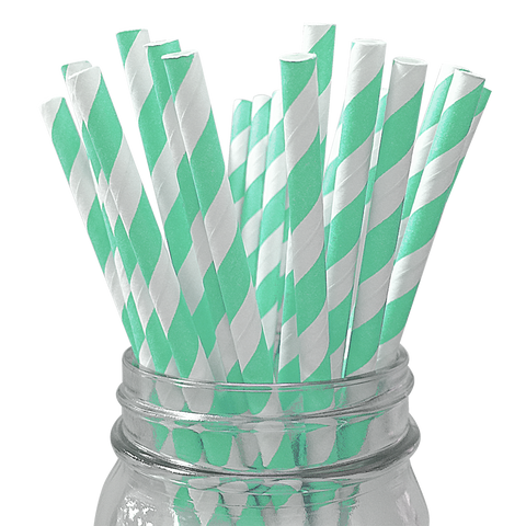 Mint Striped 25pc Paper Straws