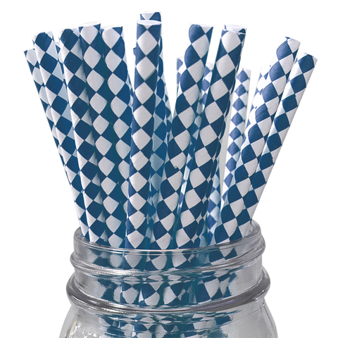 Navy Harlequin Diamond 25pc Paper Straws