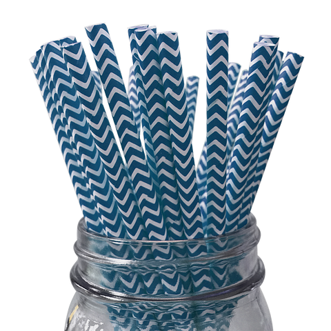 Navy Chevron Striped 25pc Paper Straws