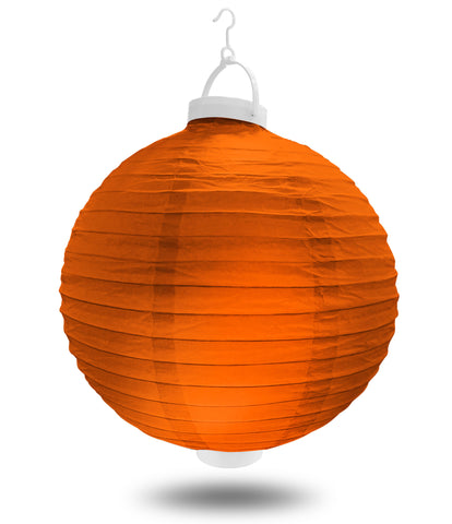 "8"" Orange Battery Operated LED Paper Lanterns."