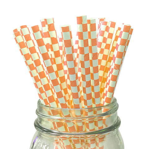 Orange Checkered 25pc Paper Straws.