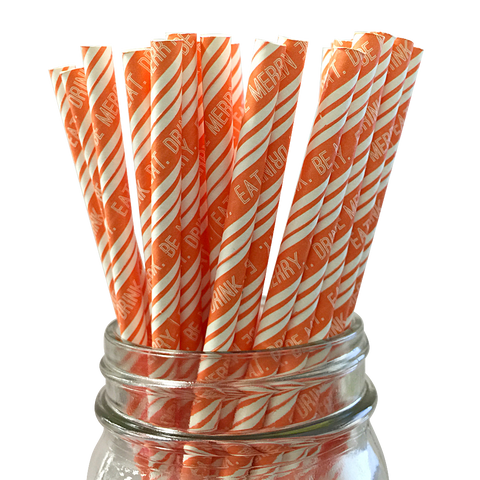 Orange Eat Drink and Be Merry 25pc Paper Straws