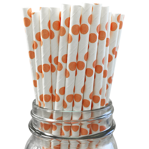 Orange Polka Dot 25pc Paper Straws