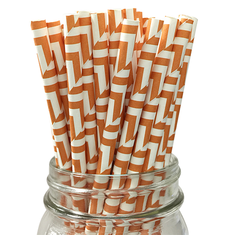 Orange Pumpkin Maze 25pc Paper Straws
