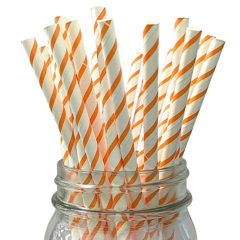 Orange Skinny Striped 25pc Paper Straws