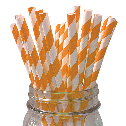 Orange Striped 25pc Paper Straws