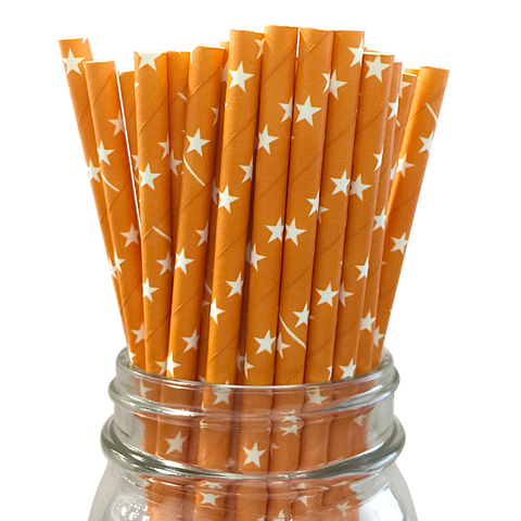 Orange with White Stars 25pc Paper Straws