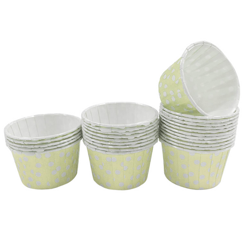 Pale Yellow with White Polka Dot Mini Cupcake Paper Cups