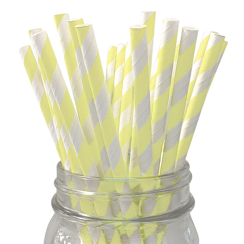 Pale Yellow Striped 25pc Paper Straws.