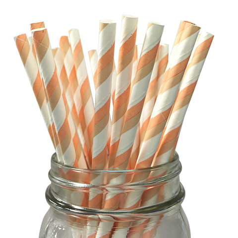 Peach and Taupe Striped 25pc Paper Straws
