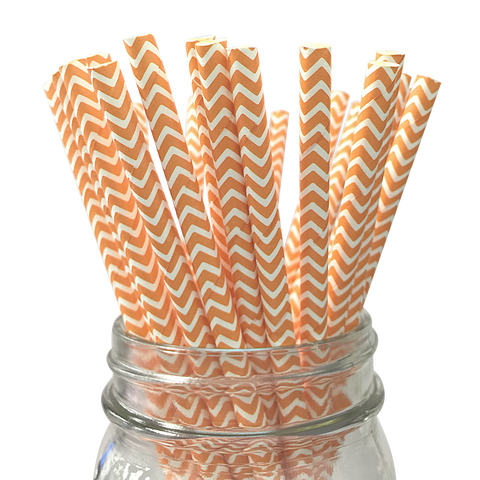 Peach Chevron Striped 25pc Paper Straws.
